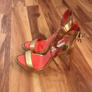 BCBC Maxazria Gold Stiletto Sandals